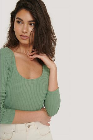 NA-KD Dame Langermede - Ribbed Long Sleeve Cropped Top