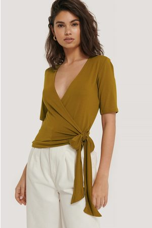 NA-KD Viscose Wrap Tie Top