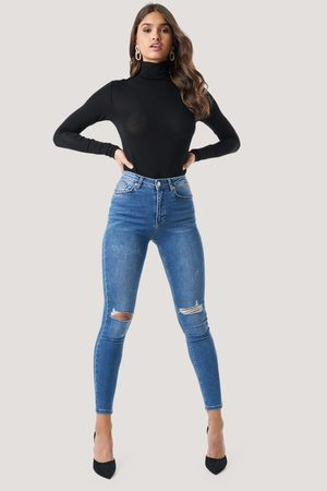 NA-KD Dame High waist - Skinny High Waist Destroyed Jeans