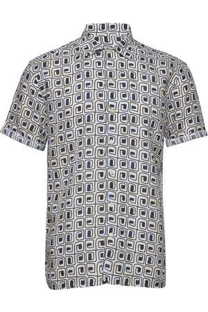Eton Block Print Linen Resort Shirt Kortermet Skjorte