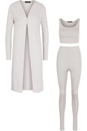 Boohoo Ribbed Crop Top Legging And Duster Co-ord