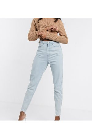 Missguided Tall Mom jeans with raw hem in light wash blue