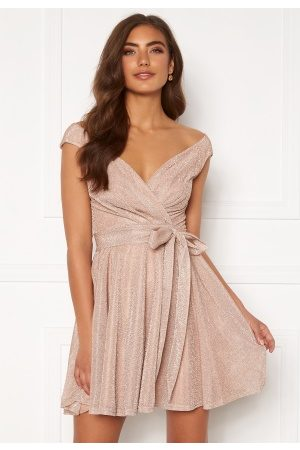Goddiva Lurex Skater Dress Nude XL (UK16)