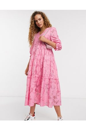 Selected Femme lace midi dress with volume sleeves in pink