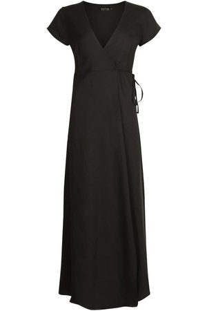 Boohoo Plunge Front Tie Wrap Maxi Dress