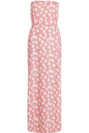 Boohoo Bandeau Floral Mix Print Belted Maxi Dress