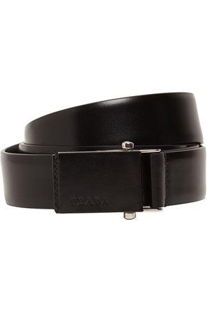 Prada 3.2cm Debossed Logo Leather Belt