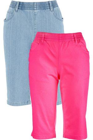 Bonprix Dame Bermudashorts - Bermuda-shorts med stretch (2-pack)