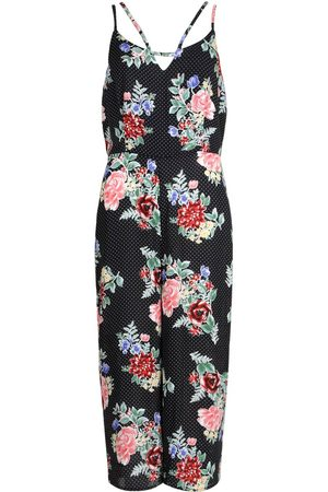 Boohoo Floral Polka Dot Strappy Culotte Jumpsuit
