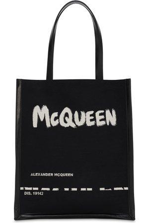Alexander McQueen Logo Jacquard Canvas & Leather Tote Bag