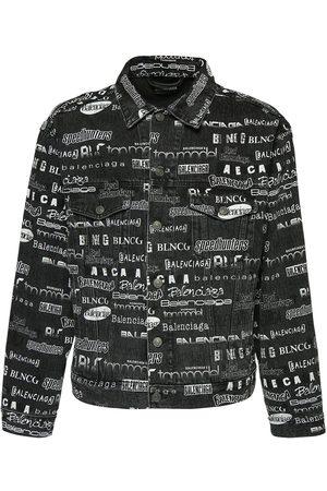 Balenciaga Herre Denimjakker - All Over Print Cotton Denim Jacket