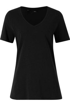 bonprix T-shirt med dyp V-hals