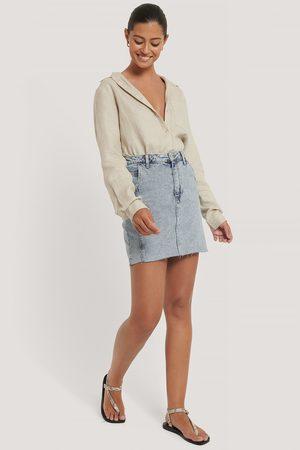 NA-KD Raw Hem Denim Mini Skirt