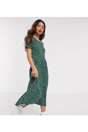 Wednesday's Girl Midi smock dress in smudge spot print-Green