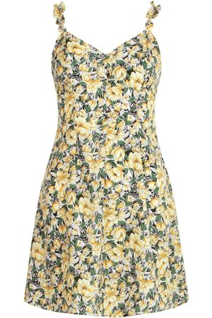 Boohoo Floral Print Ruffle Strap Swing Dress