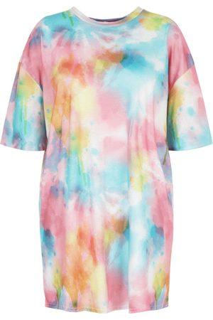 Boohoo Plus Tie Dye Oversized Beach T-Shirt Dress