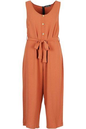 Boohoo Plus Linen Look Button Belt Jumpsuit