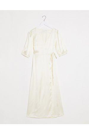 Vila Satin midi wrap dress in cream-Neutral