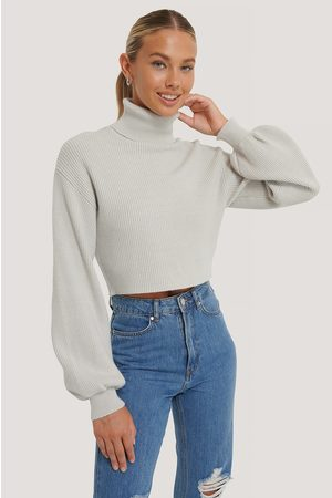 Emma Ellingsen x NA-KD Dame Pologensere - Balloon Sleeve Cropped Polo Sweater