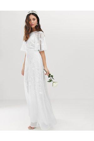 ASOS Mia embroidered flutter sleeve wedding dress-White