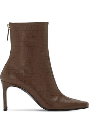 Reike Nen 80mm Croc Embossed Leather Ankle Boots