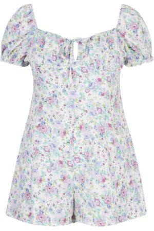 Boohoo Plus Floral Print Ruched Sweetheart Playsuit
