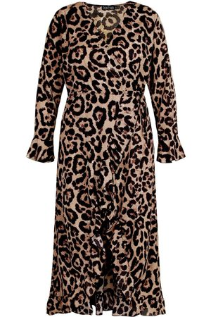 Boohoo Plus Leopard Ruffle Wrap Midi Dress
