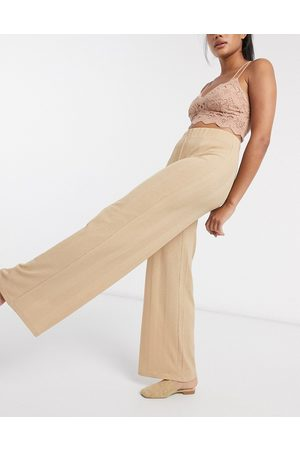 Vila Wide leg lounge trousers in camel-Tan