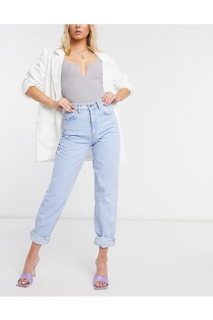 ASOS High rise 'Slouchy' mom jeans in brightwash-Blue