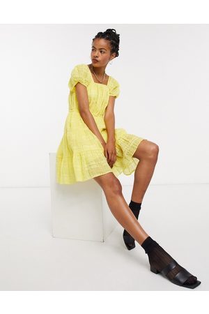 & OTHER STORIES Eco cotton square neck smock dress in yellow-Blue