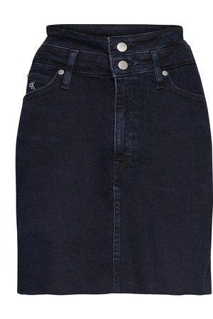 Calvin Klein Dame Miniskjørt - High Rise Mini Skirt Kort Skjørt Blå
