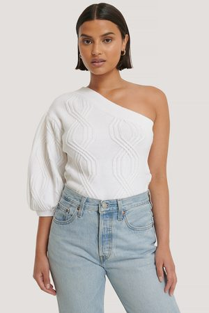 NA-KD One Shoulder Cable Knit Sweater