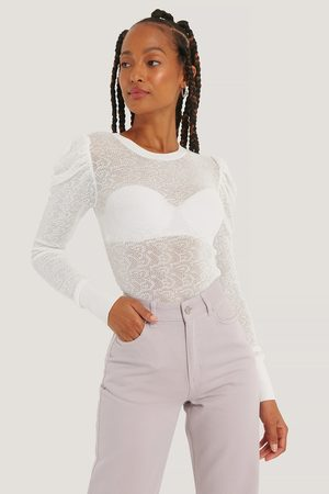 NA-KD Dame Gensere - Structure Knit Puff Sleeve Sweater