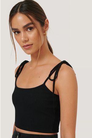 NA-KD Dame Topper - Tie Shoulder Rib Jersey Top
