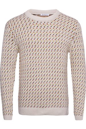 Knowledge Cotton Apparal Jacquard O-Neck Knit - Gots Strikkegenser M. Rund Krage
