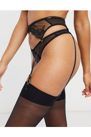 BlueBella Marseille embroidered mesh suspender belt in black