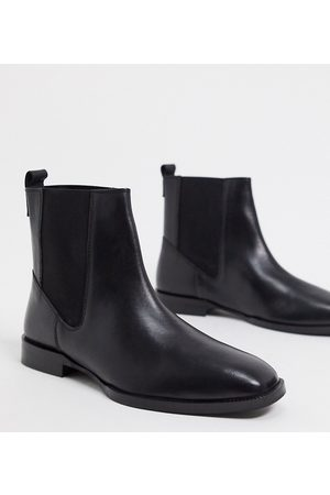 ASOS Wide Fit Alyssa leather chelsea boots in black