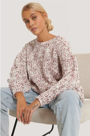 NA-KD Short Puff Sleeve Melange Sweater