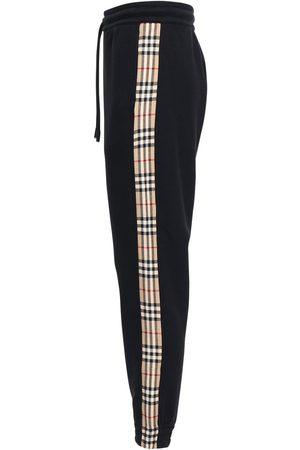 Burberry Cotton Jersey Sweatpants W/ Check Detail