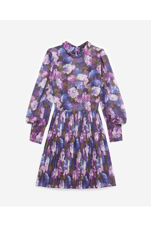 The Kooples Flowing pleated dress with violet print
