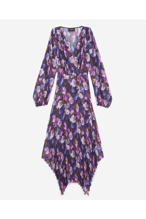 The Kooples Long pleated dress with violet print