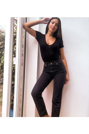 ASOS ASOS DESIGN Tall high rise stretch 'effortless' crop kick flare jeans in black