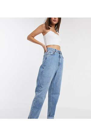 ASOS ASOS DESIGN Tall high rise 'slouchy' mom jeans in midwash-Blue