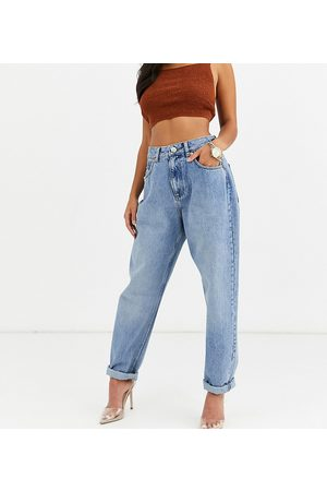 ASOS ASOS DESIGN Petite high rise 'slouchy' mom jeans in midwash-Blue