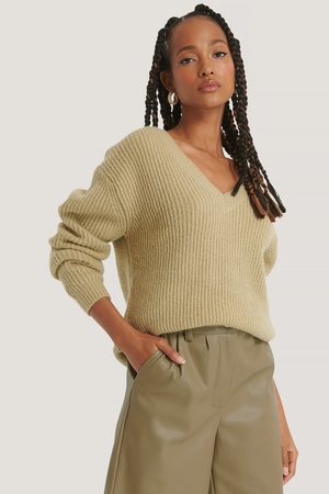 NA-KD Dame Gensere - Oversized V-neckline Sweater