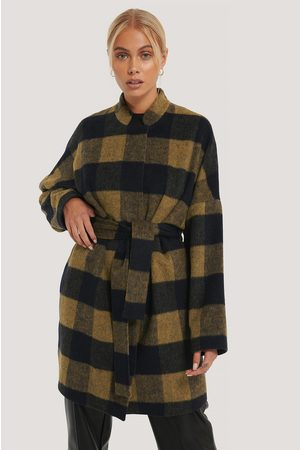 NA-KD Wool Blend Checked Short Coat
