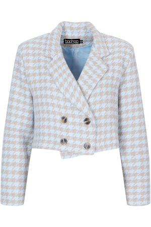 Boohoo Petite Double Breasted Dogstooth Crop Jacket