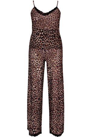 Boohoo Plus Chiffon Leopard Lace PJ Set