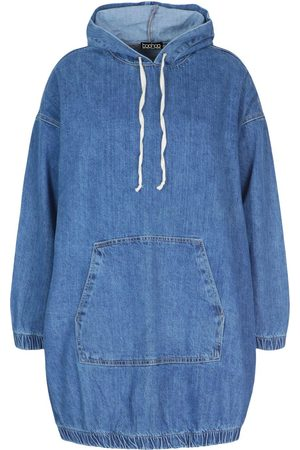 Boohoo Plus Hooded Denim Pullover Dress