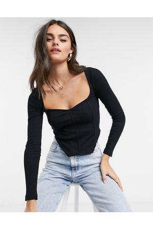 ASOS Rib fitted corset top with ultra wide neck in black